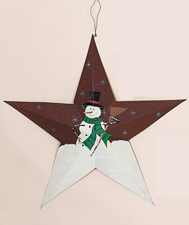 "24"" Barn Star Snowman with Broom"