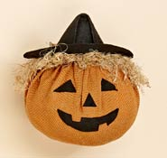 "8"" Burlap Pumpkin with Hat"
