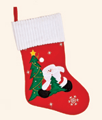 "18"" Christmas Sock w/ Santa Embroidery"