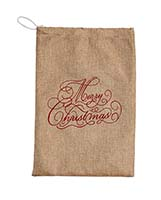 "10"" X 16"" MERRY CHRISTMAS LINEN BAG"