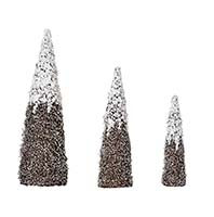 "NESTED SNOW & SILVER GLIT. CONE TREE, 18"", 24"" 32"""