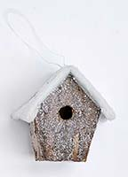 "4"" SNOWY BIRDHOUSE ORNAMENT"