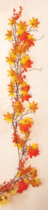 "55"" Weatherproof Fall Leaf & Berry Garland"