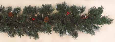 "9' x 10"" Mixed White Tip Pine Garland With Berries and 180 Tips"