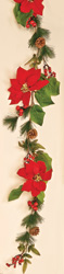5' Red Poinsettia Garland With WP  Berries and Pine Cones