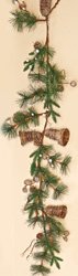 5' Pine Twig Bell Decor Garland