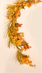 "60"" Fall Garland w/ Long Grasses, Berries, Pumpkins & Leaves"