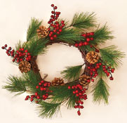 "12"" Weatherproof Pine Berry Cone Wreath"
