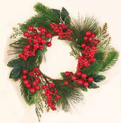 "16"" Weatherproof Pine & Berry Wreath"