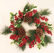 "18"" Weatherproof Holly Pine Berry Wreath"