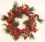 "22"" Weatherproof Holly Pine Holly Wreath"