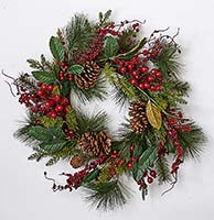 "22"" WATERPROOF MXD GREEN BERRY WREATH"