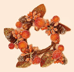 "1.5"" Orange Glitter Berry Candle Ring (Inner Diameter)"