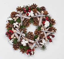 "12"" ARTIFICAL BIRCH LOG WREATH W/PINECONES, COTTON & BERRIES"