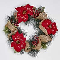 "20"" POINSETTIA WREATH W/BURLAP ON NATURAL TWIG BASE"