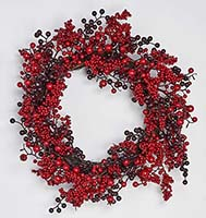 "19"" RED & BURGUNDY BERRY WREATH ON NATURAL TWIG BASE"