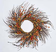 "24"" FALL BERRY TWIG WREATH ON NATURAL TWIG BASE"