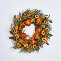 "22"" FALL FLOWER WREATH ON NATURAL TWIG BASE"