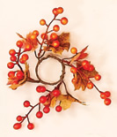 "1.25"" Maple Leaves & Berry Candle Ring"