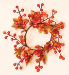 "3.25"" Maple Leaves & Berry Candle Ring"