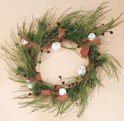 "24"" Frosted Pine Wreath With Bells & Plaid CLOSE OUT"