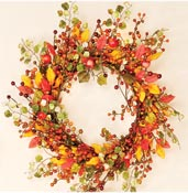 "18"" Fall Berry Wreath With Foliage"