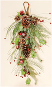 "28"" Icy Teardrop with Berries, Pine Cones & Bells"