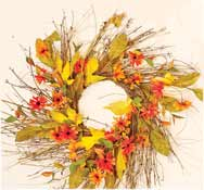 "24"" Mixed Fall Floral Twig Wreath"