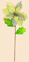 "27"" Gold Poinsettia Stem With Glitter"