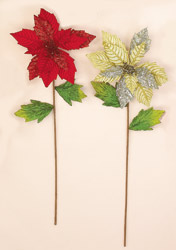 "27"" Poinsettia Stem With Glitter"