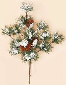 "17"" Snowy Pine & Cone Spray"