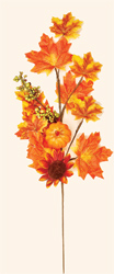 "24"" Weatherproof Sunflower, Maple Leaf & Pumpkin Spray"
