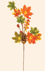 "24"" Maple Leaf Spray with Fall Decor"