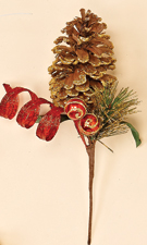 11' Glitter Red Swirl Ball Pine, Cone Pick