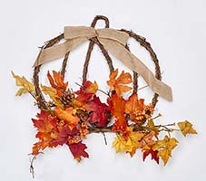 "17"" DECORATED HANGING TWIG PUMPKIN"