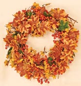 "20"" Maple Leaf & Mixed Berry Fall Wreath"