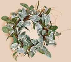 "22"" Magnolia Leaves Wreath w/ White Berries"