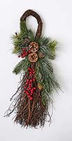 "26"" BERRIES, PINE CONES NEEDLES TEARDROP ON NATURAL TWIG BASE"