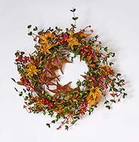 "22"" FALL BERRY & MAPLE LEAF WREATH ON NATURAL TWIG BASE"