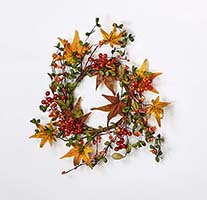 "6.5"" FALL BERRY & LEAF CANDLE RING, 12"" OUTER DIAMETER"