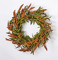 "22"" FALL SPIKE WREATH ON NATURAL TWIG BASE"
