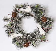 "22"" ICED PINE NEEDLE WREATH W/DOVE, BELL & BERRIES"