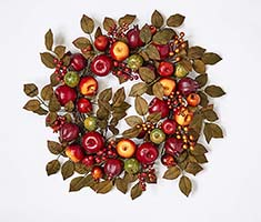 "24"" MIXED APPLE POMEGRANITE & LEAF WREATH ON NATURAL TWIG BASE"