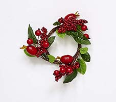 "2.25"" MIXED BERRY CANDLE RING W/LEAF"