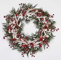 "17"" ARTIFICAL BIRCH LOG WREATH W/PINECONES, COTTON & BERRIES"