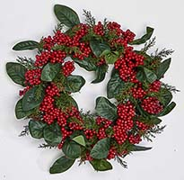 "17"" BERRY LEAF WREATH ON NATURAL TWIG BASE"