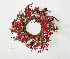 "14"" MIXED BERRY LEAF WREATH ON TWIG BASE"