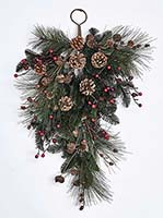 "27"" PINE BERRY CONE JINGLE BELL TEARDROP"