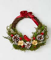 "13"" WREATH W/CARDINAL AND FOLIAGE"