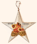 "15"" Tin Barn Star With Give Thanks"